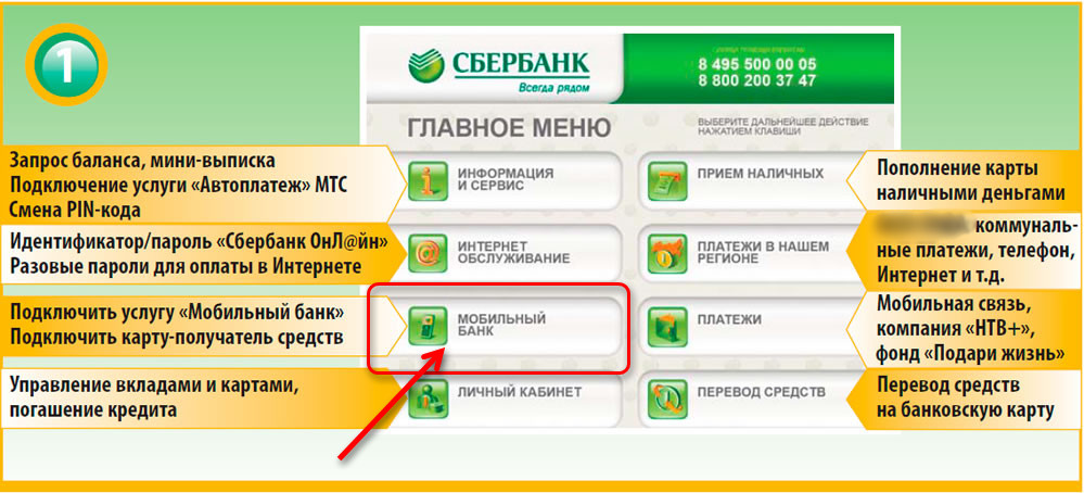 Подключение мобильного банка с помощью терминала