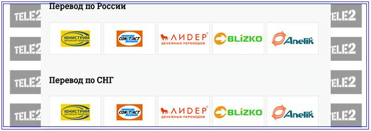 сервисы для перевода денег на теле2