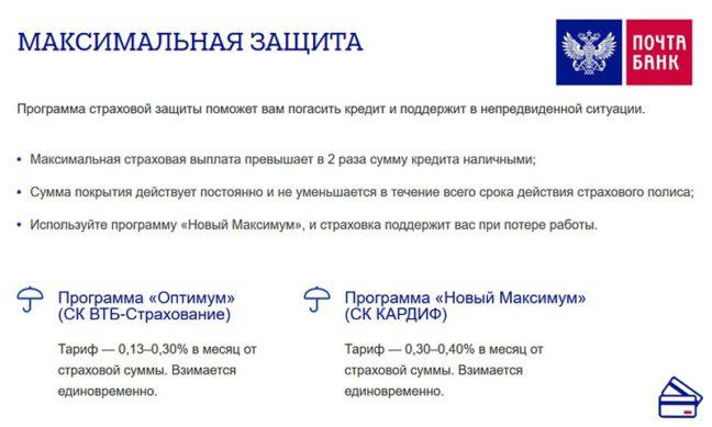 Условия страхования от Почта банка