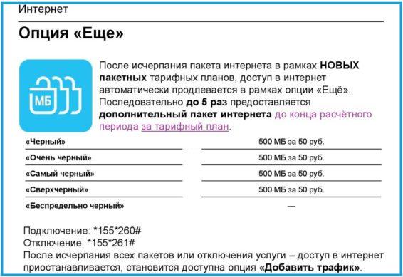Подключение дополнительных опций в рамках превышения выделенных пакетов