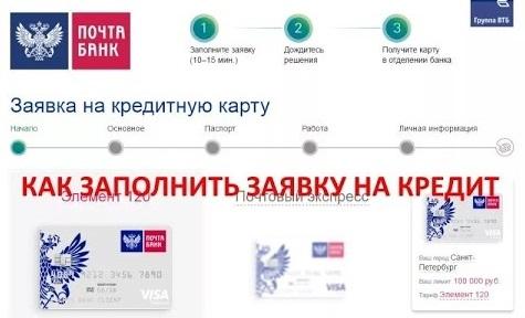 оформление онлайн заявки на кредит