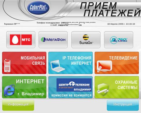 оплата кредита через сервис CyberPlat