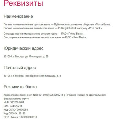 полный список реквизитов и адреса почта банка