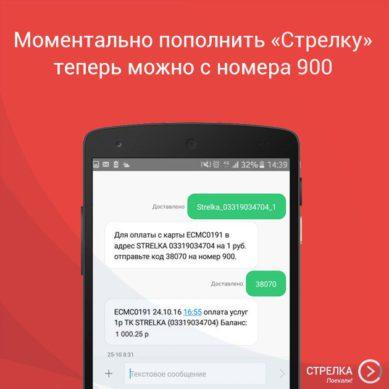 пополнение карты стрелка через смс с телефона