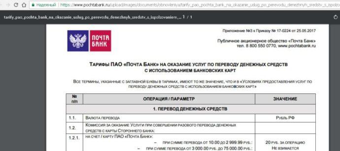 комиссия на услуги почта банка