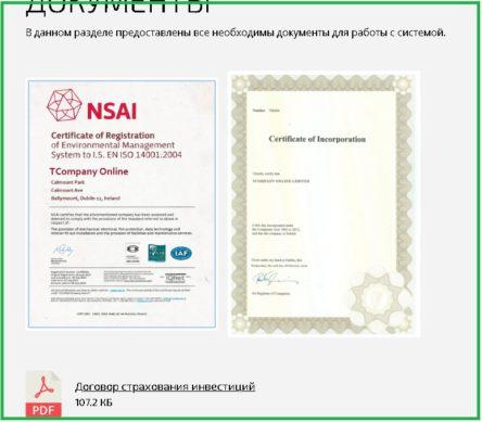 сертификат регистрации компании TC Online в Ирландии