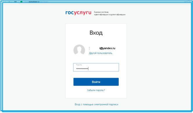 В открывшейся форме авторизации необходимо ввести свой Емейл и пароль от авторизованной учетной записи на портале Госуслуг