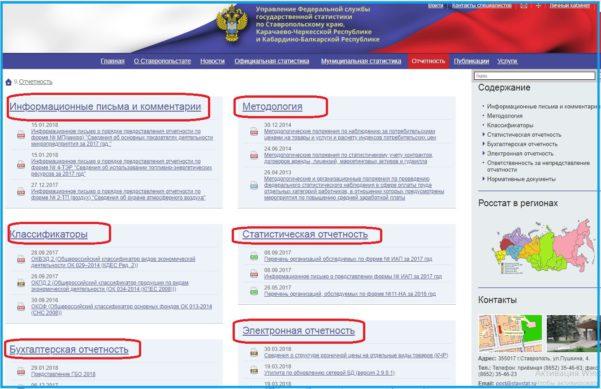 Структура раздела с формами отчетов для пользователей сайта Ростатистики