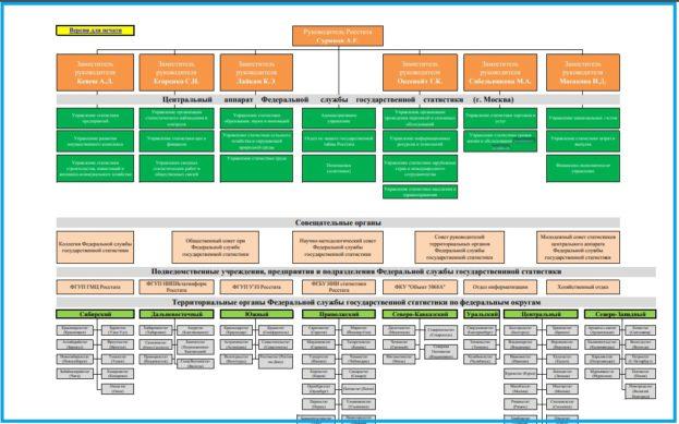 Подробная структура Росстата, подчиненность подведомственных организаций и отделов.