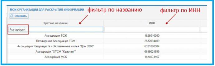 Пример применение фильтра по названию организации