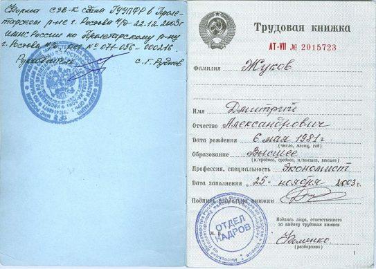 трудовая книжка граждан РФ