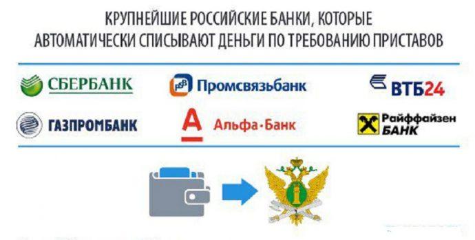 какие банки сотрудничают с судебными приставами и откуда снимают деньги