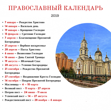 список всех церковных праздников