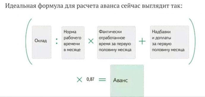формула расчета аванса в 2019 году