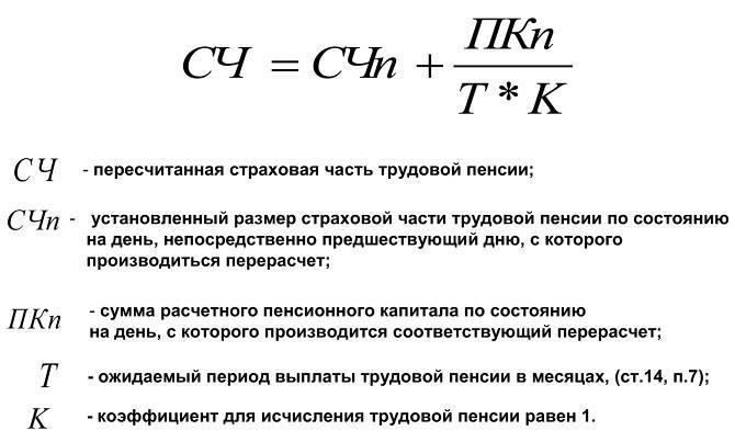 формула перерасчета пенсий
