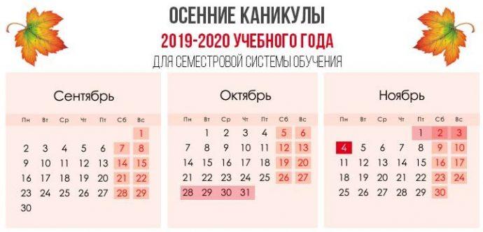 семестровые каникулы осенью в 2019 году