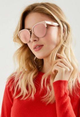 очки женские солнцезащитные с розовой оправой и розовым стеклом