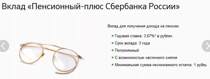 вклад пенсионный плюс от Сбербанка россии в 2019 году