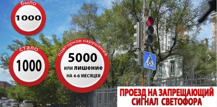 штраф за проезд на красный сигнал светофора 2019