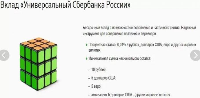 валютный вклад универсальный сбербанка россии