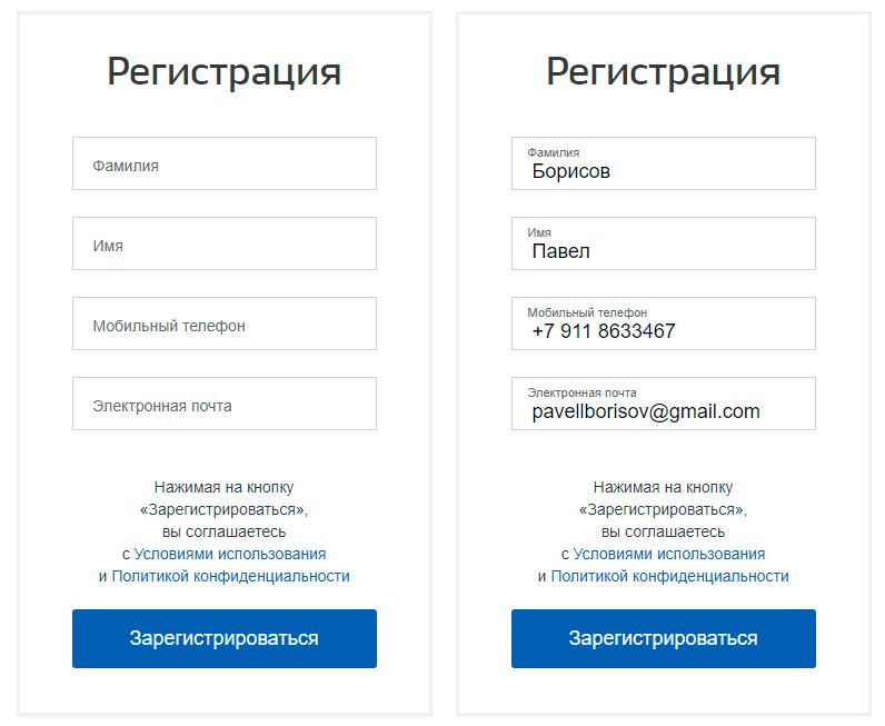 окно регистрации на портале госуслуги