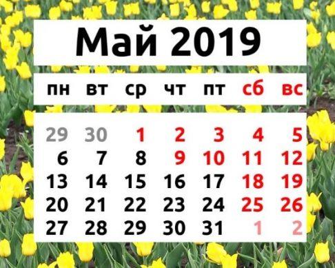 график отдыха на выходные май 2019