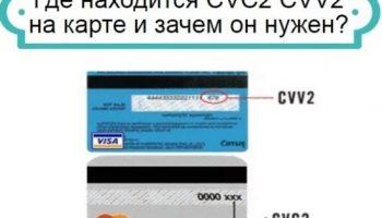 Код безопасности карты CVV2 / CVC2 и где он находится