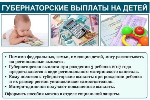 губернаторские выплаты на детей - какой размер и кому выплачивают