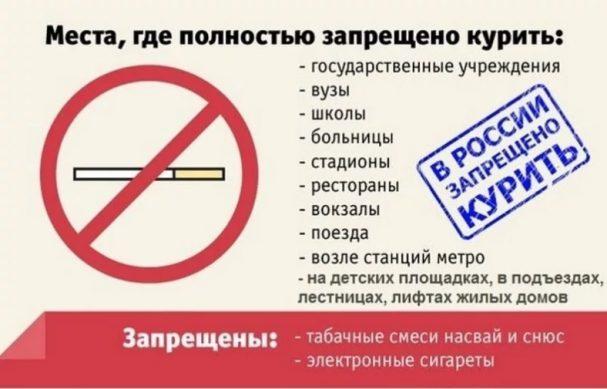 запрет курения в россии с 1 октября 2019 года