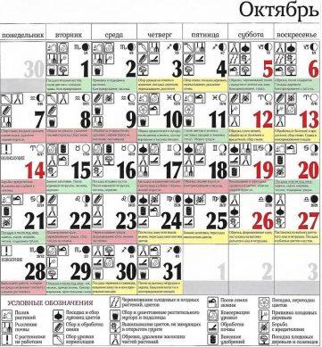посадочный календарь на октябрь 2019 года