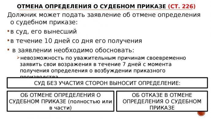 отмена судебного приказа в 2019 году