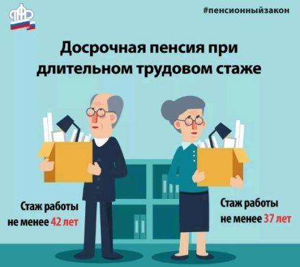 досрочная пенсия при долгом трудовом стаже