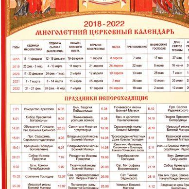 многолетний церковный календарь