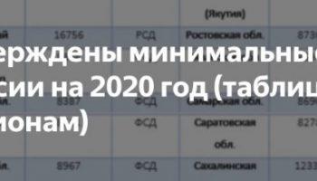 Минимальная пенсия с1января 2020 годапо регионам — подробная таблица, новости